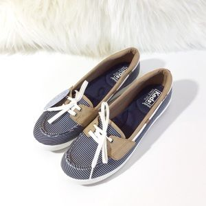 KEDS Glimmer Nautical Navy Stripe Boat Shoes NWB